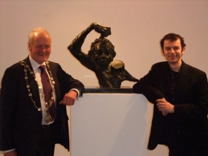 The mayor with sculptor Aidan Harte at the exhibition opening